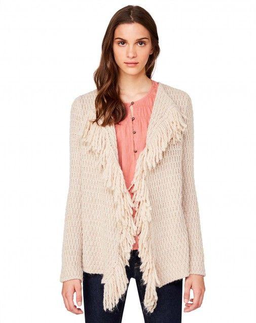 Cardigan aperto a maniche lunghe in misto lana e viscosa, caratterizzato da lavorazione a links e maxi frange lungo i profili davanti.
