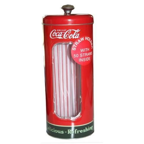 Coca-cola Tin Collectible Drinking Straw Holder Dispenser With 50 Straws New in Collectibles, Advertising, Soda | eBay