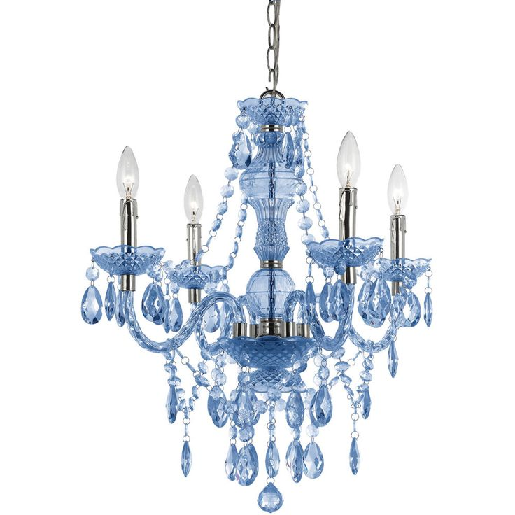 The Naples 4-light Mini Blue Chandelier is great to use in any decor to bring that pop of color and fun crafted in cut plastic It comes with a swag kit, and it can also be hardwired if needed.