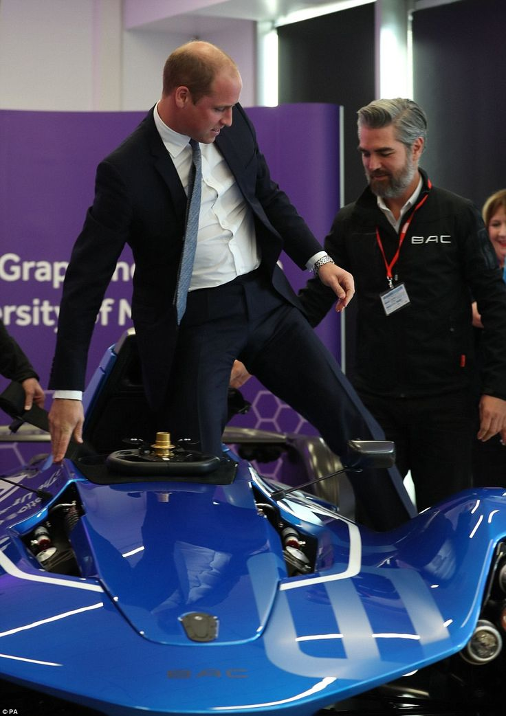 William steps out of Formula One style vehicle made by the Briggs Automotive Company 14 Oct 2016