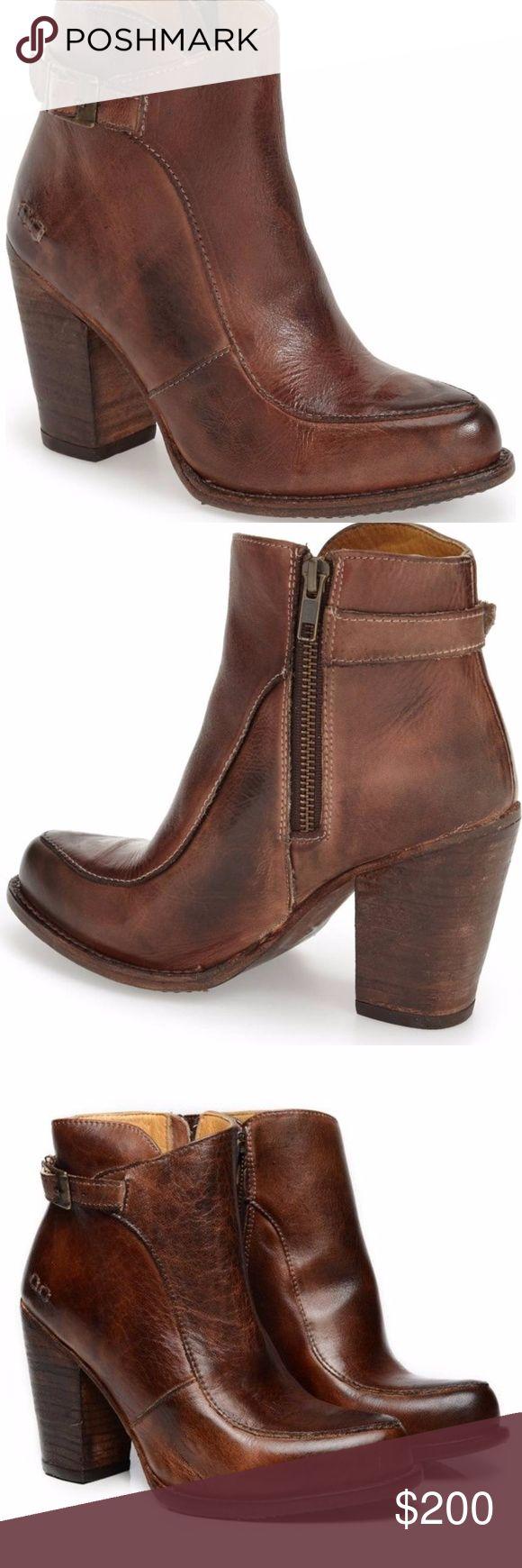 "BED STU Isla Teak Rustic Ladies Ankle Boots 7 BED STU Isla Teak Rustic Ladies Ankle Boots Womens 7 Stacked Heel Brown Leather, new no box, 3 3/4"" heel Bed Stu Shoes Ankle Boots & Booties"