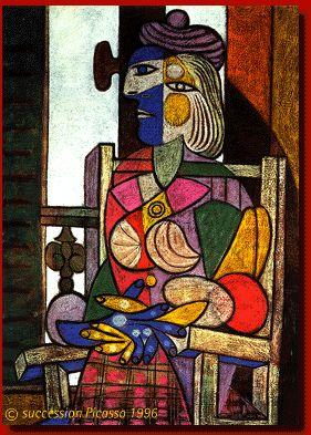 CUBISMO Obra: mujer sentada frente a una ventana, autor pablo picasso,año 1937   Picasso fue el mayor exponente de esta vanguardia caracterizado por exponer ñas diferentes vistas fe un objeto en diferentes planos suprimiendo sus detalles.