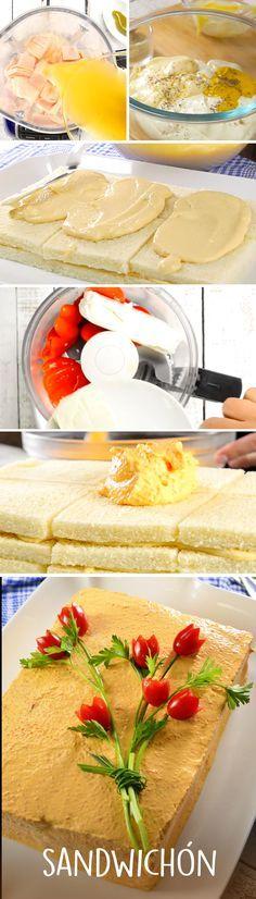 Este sandwichón con pan de caja es una receta clásica para fiestas infantiles o reuniones de amigos. Lo cubrimos con una salsa de queso, jitomate y pimiento morrón molido. ¡Será un éxito entre tus familiares!