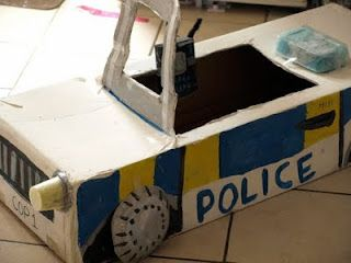 Cardboard box police car - Here Come the Girls