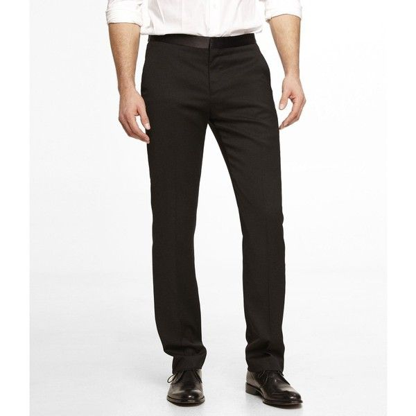 Express Black Tuxedo Pant (470 BRL) ❤ liked on Polyvore featuring men's fashion, men's clothing, men's pants, men's dress pants, black, mens slim fit pants, mens tuxedo pants, mens formal pants, men's 5 pocket pants and mens zip off pants