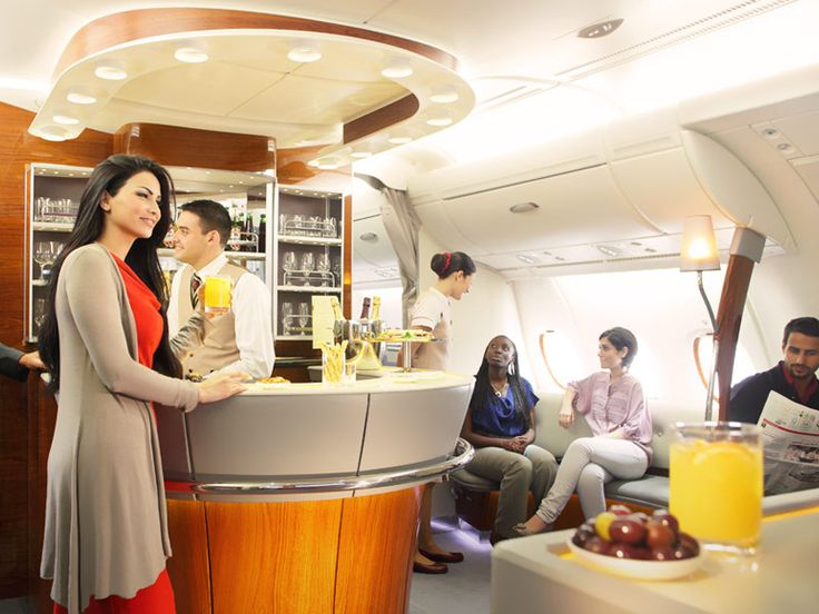 Onboard First & Business Class Lounge on the Emitates A380. Luxury at its best...
