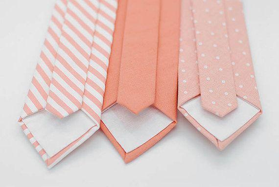 No#53,#54,#57, solid pattern pastel matte cotton, linen coral stripe ties,polka dot theme wedding,coral,groomsmen,men,tie, coral wedding