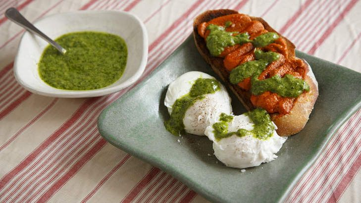 Sobrasada, a cured sausage from Majorca made with ground pork, paprika and salt, is delicious spread on toast with poached eggs and green mojo.