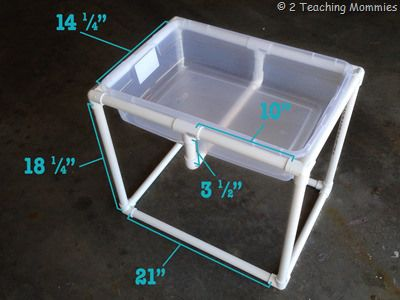Intended as a sensory table, make it a bit taller for a portable potting bench!