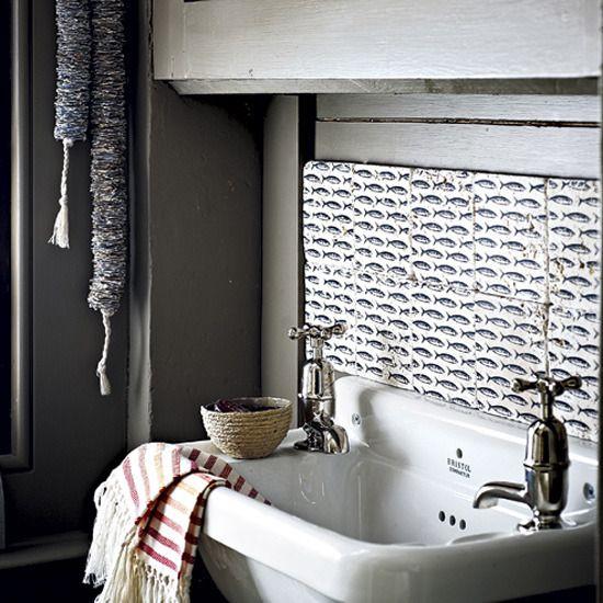 love this tilesBathroom Design, Small Bathroom, Vintage Bathroom, Rustic Bathroom, White Bathroom, Bathroom Sinks, Fish Tile, Laundry Room, Design Bathroom