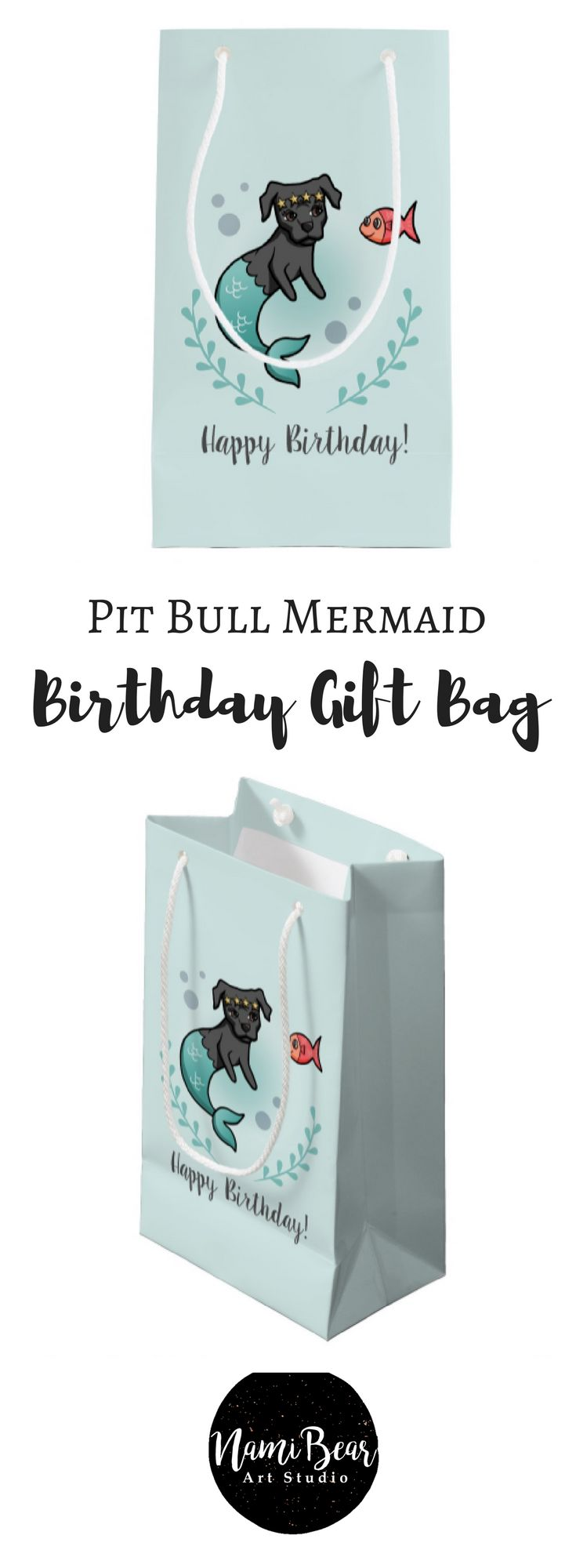 Mermaid Pit Bull Birthday Small Gift Bag This is a vector illustration of a mermaid pit bull and her little fish friend. The mermaid dog has a star crown on her head. There is a seaweed wreath at the bottom. #dog #dogs #dogLovers #pitbull #pitbulls #mermaid #ocean #sea #kids #children #birthday #happybrithday #wrapping #pet #pets #illustrations #illustration #animal #animals #whimsical
