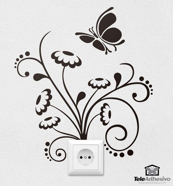 Vinilo decorativo Flores y mariposas