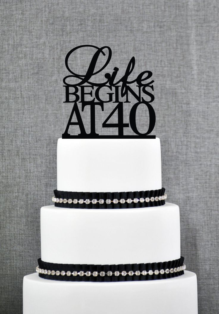 New to ChicagoFactory on Etsy: Life Begins At 40 Birthday Topper Elegant 40th Birthday Topper Fortieth Birthday Cake Topper- (S089) (15.00 USD)