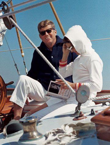 John F. Kennedy and Jacqueline sailing.