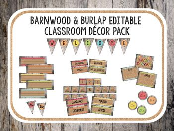 Make classroom decoration easy with my Barnwood and Burlap Classroom Decor Set! This pack is bright and rustic, perfect for any shabby chic themed classroom.This set includes:-Desk Name Plates Lined and Unlined (5 Designs)-Birthday Display-Calendar Month, Date, and Holiday Pieces-Welcome Bunting Banner-Editable Bunting-Word Wall Bunting -Cursive Display-Small Labels (5 Designs)-Large Labels (5 Designs)-Subject Labels (for easy display of homework or essential questions)-28 pages of editable…