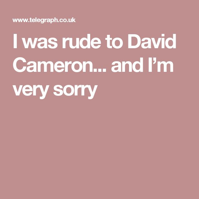 I was rude to David Cameron... and I'm very sorry