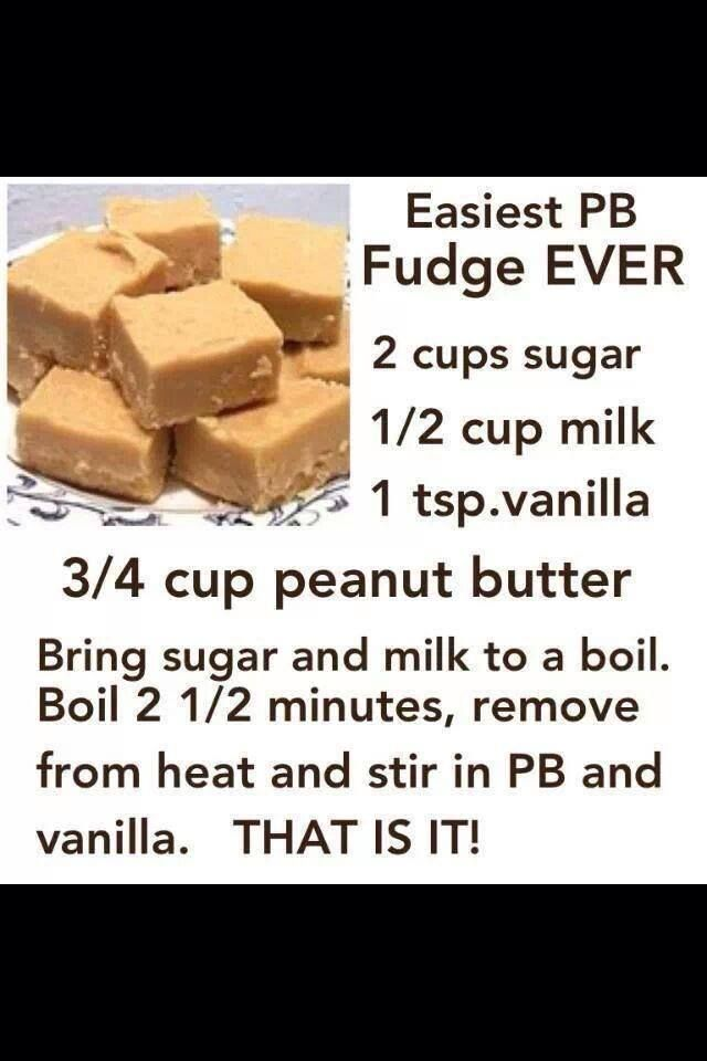 easy peanut butter fudge. I just made a pan of this. This is my favorite recipe because it's quick and easy and de-licious!!!
