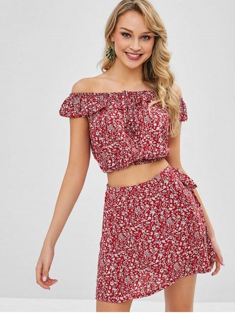 dc6fca26ff02 [POPULAR] 2019 Tiny Floral Off Shoulder Wrap Skirt Set In CHERRY RED M |  ZAFUL