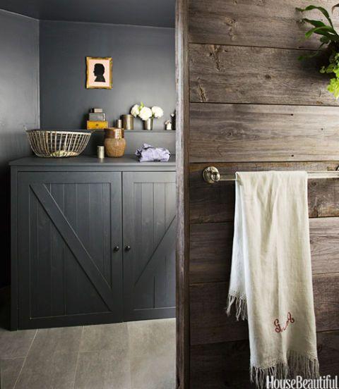 A Bathroom With Warm Barn Wood Chalkboard Paint Dryer