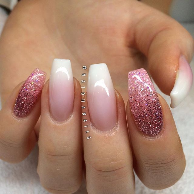 Pink glitter and ombre nails by @natdhanails