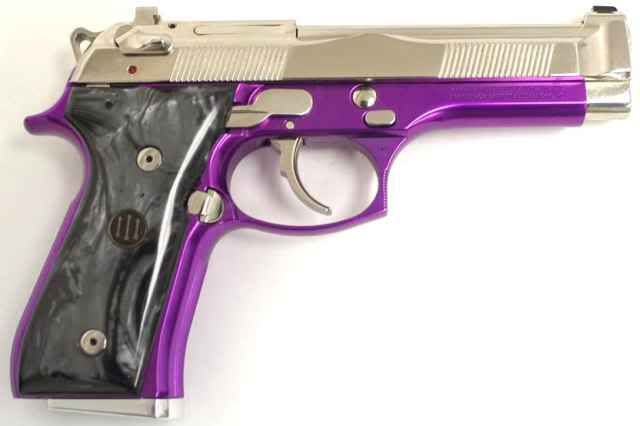 Purple and silver, with black pistol grips love it