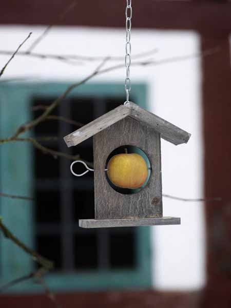 simple wood birdhouse with an apple for your feathered friends.