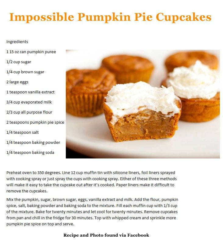 impossible pumpkin pie cupcakes | Impossible Pumpkin Pie Cupcakes | Dessert : Cakes