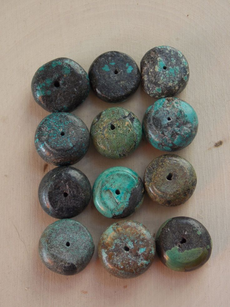 Turquoise Beads / Coin Turquoise Beads / Large Turquoise Beads / Genuine Turquoise / Coin Beads / Blue Turquoise Beads / Jewelry Supplies by Loft12Studios on Etsy