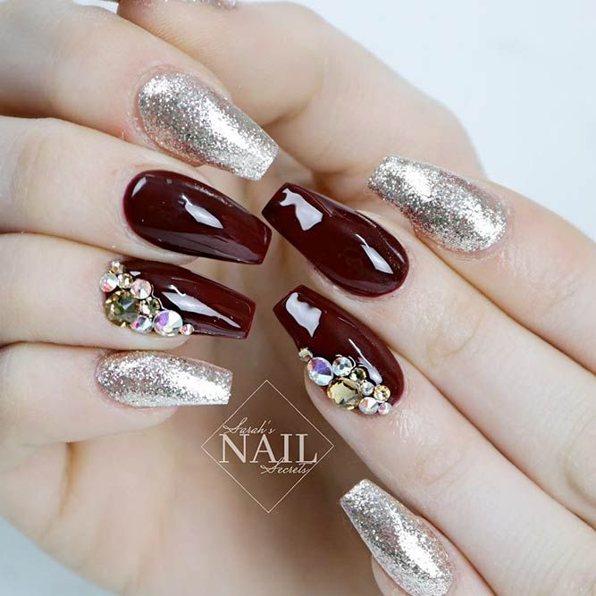 Acrylic Nails Awesome Ideas Long Coffin Burgundy Glitter