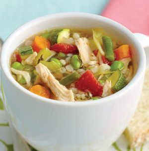 8-Vegetable Chicken Soup is with chicken, barley, cabbage, tomatoes, onions, carrots, celery, edamame, green beans and zucchini. You really can't go wrong, can you?