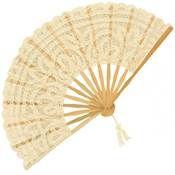 Battenberg Lace Fan in Cream