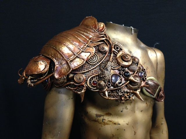 We're emerging from the Halloween rush at last. One of the many amazing commissions Paul completed in the last 6 weeks was this colossal crustacean!  It's a pauldron, made for a merman, in the form of an isopod. It has the feeling of a treasure