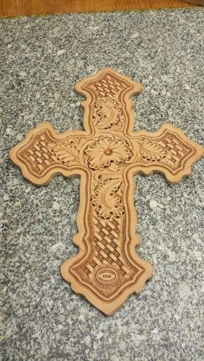Hand tooled leather cross