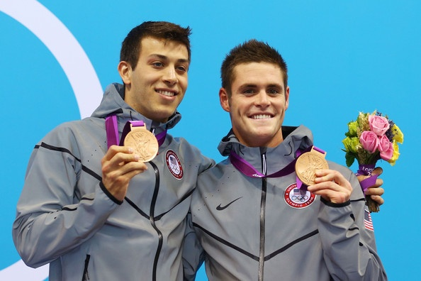 (L-R) Nicholas McCrory and David Boudia of the United States celebrate  their Bronze Medals for the Men's Synchronized 10m Platform Diving event at the London 2012 Olympic Games. Click through for a fantastic photo gallery! (Photo: Al Bello/Getty Images)