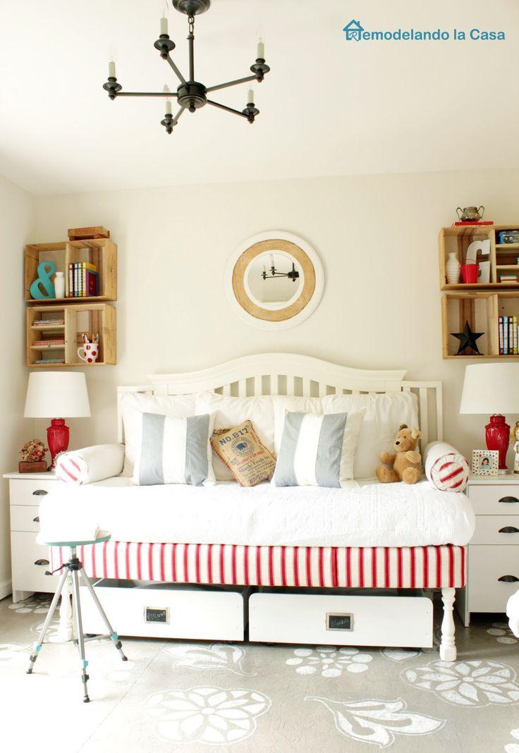 B's room, bed.