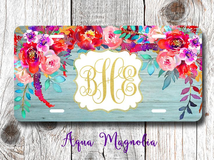Watercolor Peony Flowers - Personalized License Plate - Watercolor Flowers - Car Tag - Monogrammed License Plate Frame by AquaMagnolia on Etsy
