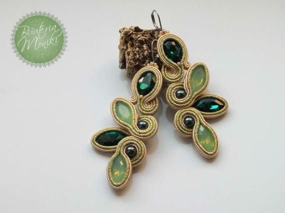 Spring soutache embroidery technique earrings Twigs