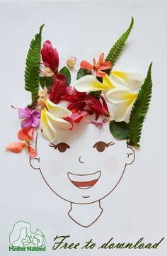 Nature Craft Collage idea - Boy and girl head printable