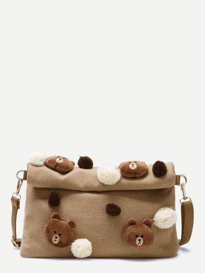 Bolso de lona con parte superior enrollada y adorno de osito - marrón