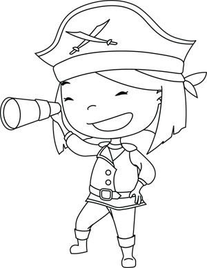 Gigi: Pirate - free downloadable coloring page
