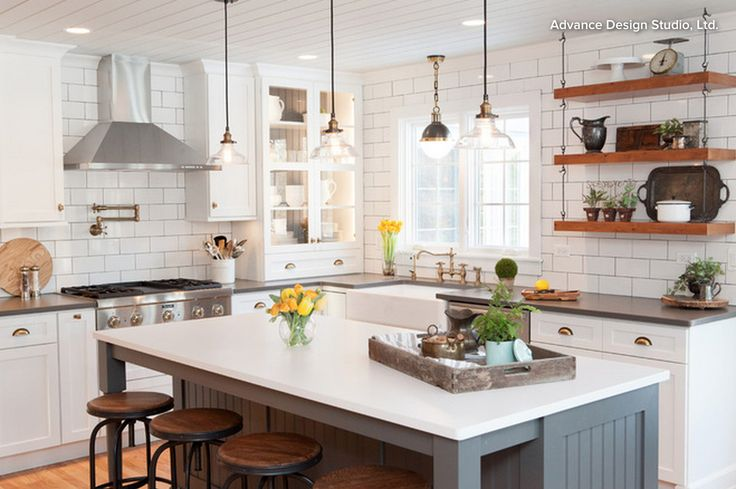 Mixed metals, lighting and open shelving