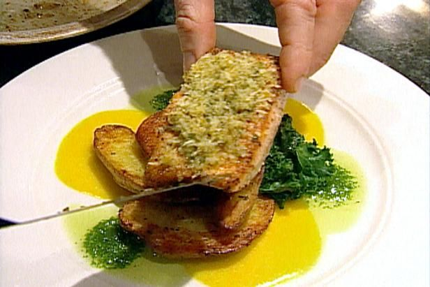 Get Horseradish-crusted Chinook Salmon with Braised Greens and Roasted New Potatoes Recipe from Food Network