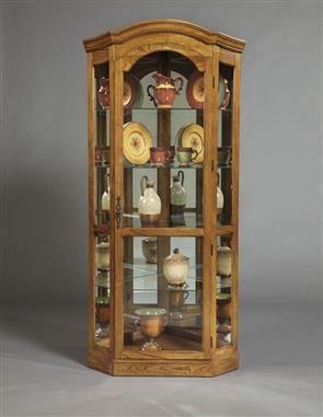 Curios Pepper Oak Corner Curio Cabinet By Pulaski Furniture