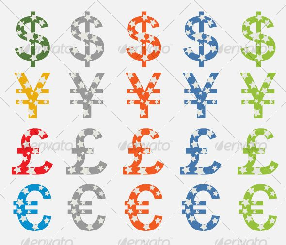 Currency Symbols Dollar, Yen, Pound, Euro — Vector EPS #pound #blue • Available here → https://graphicriver.net/item/currency-symbols-dollar-yen-pound-euro/46753?ref=pxcr