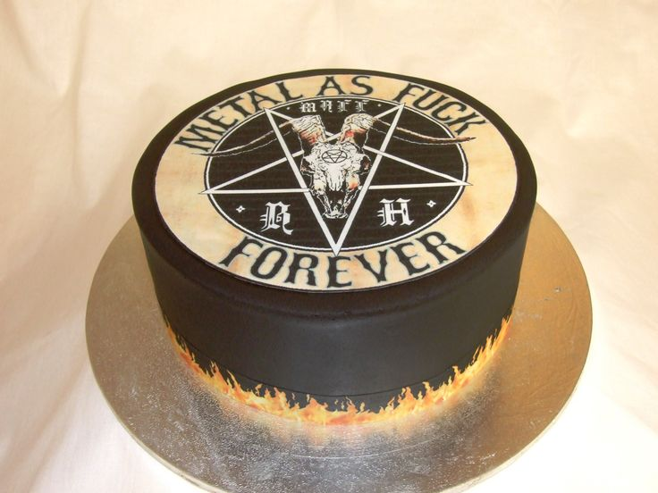 Heavy metal cake with black fondant and flames (sorry about the language)