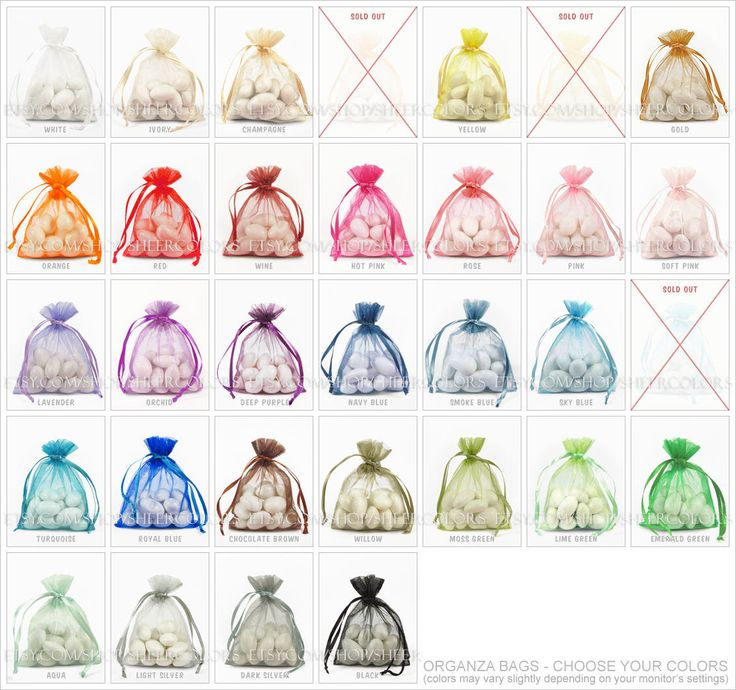 200 Organza Bags, 3 x 4 Inch Sheer Fabric Favor Bags, For Wedding Favors, Drawstring Jewelry Pouch- Choose Your Color Combo by SheerColors on Etsy https://www.etsy.com/listing/113089794/200-organza-bags-3-x-4-inch-sheer-fabric