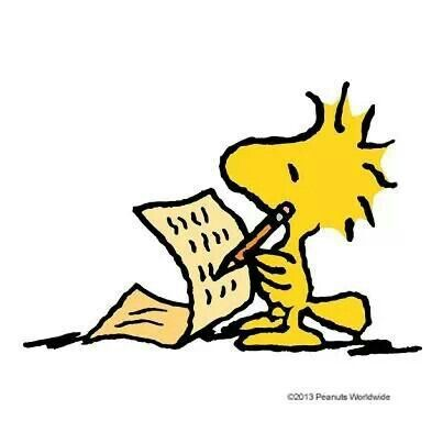 This would be fun art to have in my future home in the office.Woodstock writing a note/letter.