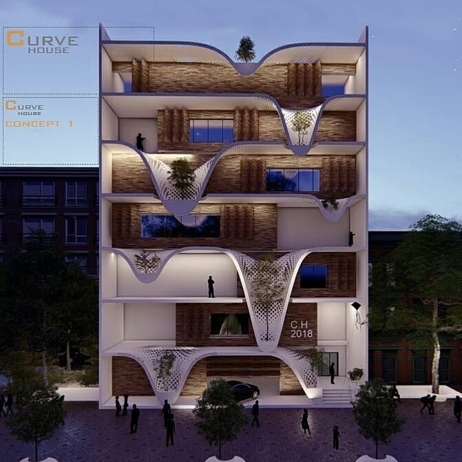 Curve House Concept By Ramin Abbasi Ja Tools Used Autodesk Revit