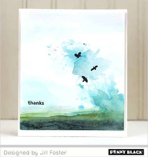 VIDEO: Visit our blog for a complete video tutorial demonstrating watercolor painting and stamping as shown on this card and 3 more