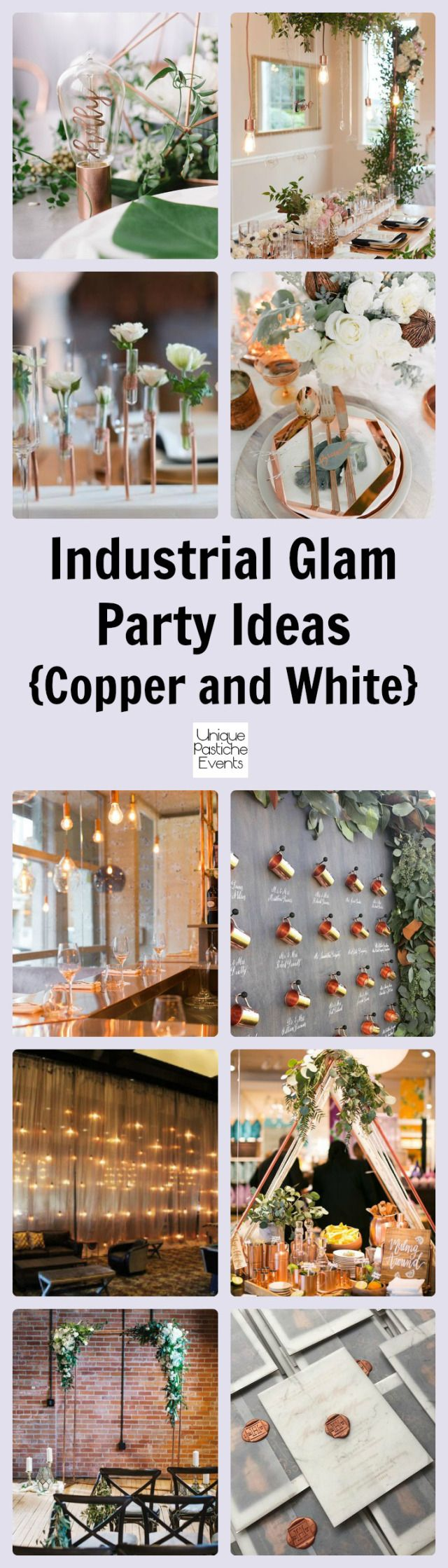 Industrial Glam Party in Copper and White #IdeaBoard #InspirationBoard